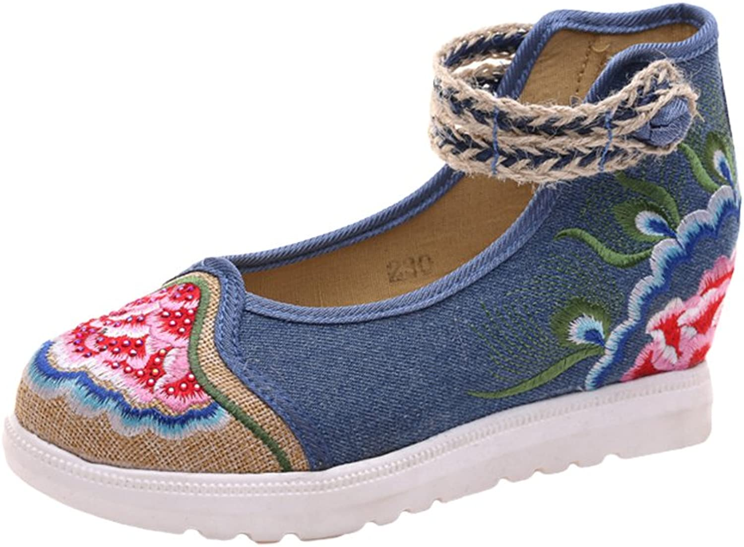 AvaCostume Women Flower Embroidery Sequins Wedges Linen Weave Mary Jane shoes