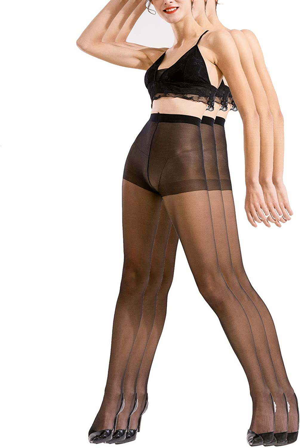 Sheer Pantyhose Silk Reflection - 3 Pack Microfiber Oxygen Tights, Ultra Soft Transparent Silky Stockings Stretchy