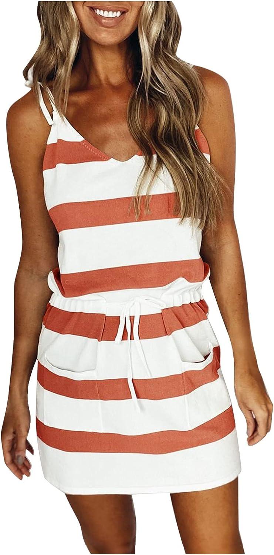 Gerichy Summer Dress for Women 2021, Womens Striped V Neck Short Sleeve Dress Drawstring Mini Sexy Bodycon Workout Dress