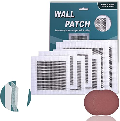 discount Drywall Repair Kit 7 Pack,Wall high quality Hole Patch Ceiling Self Adhesive Aluminum,Dry Wall Patch Repair Fiber Mesh 4/6 Inch new arrival + 2 Sand Paper outlet sale