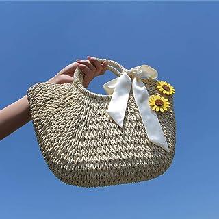 YLGB Stroh Crossbody Handtasche,Stroh gewebte Damentasche, handgewebte Strandtasche-Khaki plus 2 rosa Sonnenblumen_groß,So...