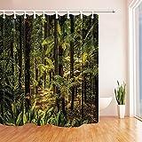 CDHBH 3d-Digital-tropischen Regenwald bei Sonnenlicht Schimmel Wasserdicht Duschvorhang Polyester-Gewebe, Dekoration, mit Haken: 71x 71cm