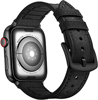 Mifa Hybrid Sports band compatible with Apple Watch vintage Leather Bands Black Replacement strap Sweatproof classic dress iwatch series 4 3 nike space black 44mm 42mm men women HB (44mm/42mm - Black)