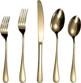مجموعة أدوات مائدة فضية مكونة من 20 قطعة من أدوات المائدة لأربعة أشخاص، مصنوعة من الفولاذ المقاوم للصدأ، تتضمن سكين / شوك...