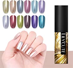 LILYCUTE Metallic Mirror Gel Polish Soak Off Sliver UV Gel Long Lasting Nail Art Varnish Manicure 5ml 12 Colors