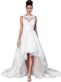 6d3c3a2aea2 JoyVany Women Vintage 2019 Beach Summer Full Lace Applique High Low Wedding  Dresses JV554