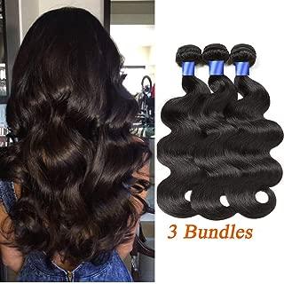 Gluna Hair Brazilian Virgin Body Wave 3 Bundles 100% Unprocessed 8A Virgin Body Wave Human Hair Weave Weft Extensions 3 Bundles Full Head Set (Natural Color,12 14 16 inch)