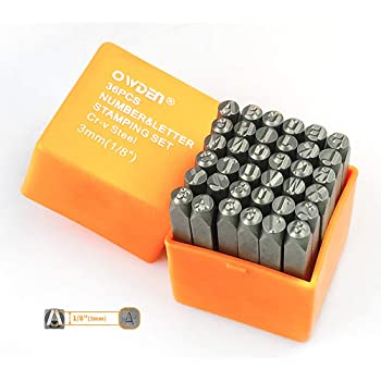 "OWDEN Professional 36Pcs. Steel Metal Stamping Tool Set,(1/8"") 3mm,Steel Number and Letter Punch Set,Alloy Steel Made HRC 58-62 for Jewelry Craft Stamping."
