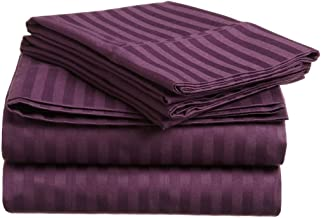 Superior 300 Thread Count 100% Premium Combed Cotton, 4-Piece Bed Sheet Set, Deep Pocket, Single Ply, Sateen Stripe, Full - Plum