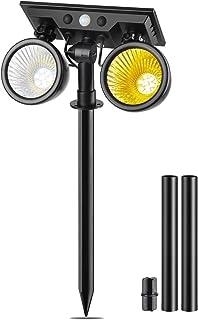 ガーデンライト 2色切替 ソーラーライト 屋外 人感センサー 4つ点灯モード 360°角度調整 自動点灯 防水 埋め込み/壁掛け可能 防犯対策 玄関/庭/車道/芝生