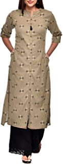 ladyline Women's Cotton Ethnic Printed Tunic Top Front Slit Roll-Up Sleeves Buttons Down Neck Pocket Long Kurti Kurta