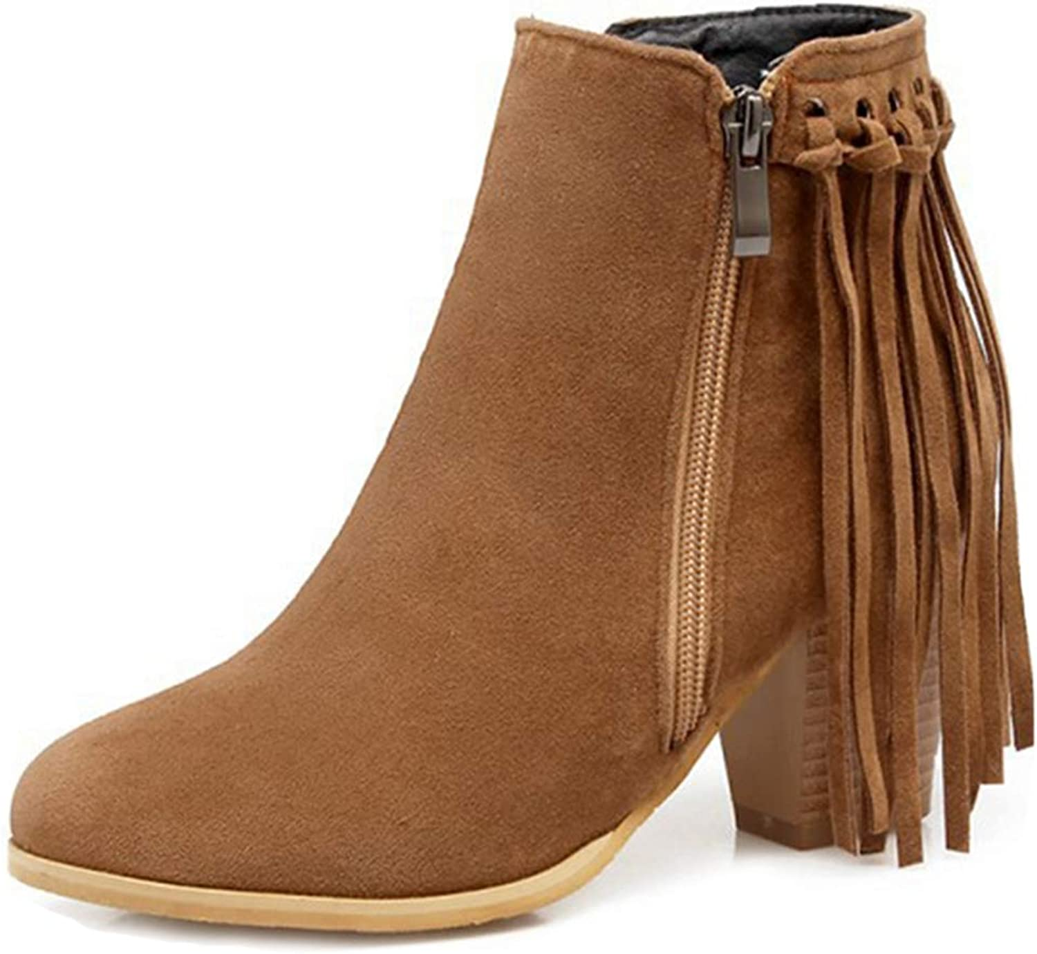 GIY Women's Fringe Chunky Platform Ankle Boots Suede Winter Velvet Bootie Stacked Heel Tassel Boot shoes