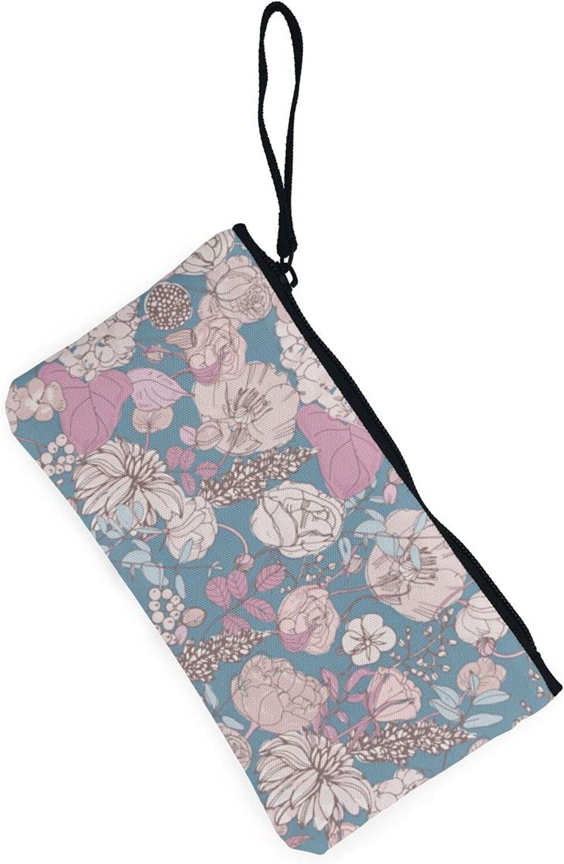 AORRUAM Floral vintage background Canvas Coin Purse,Canvas Zipper Pencil Cases,Canvas Change Purse Pouch Mini Wallet Coin Bag