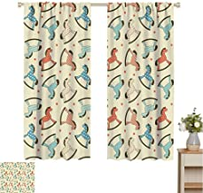 Mozenou Toy Horse Kitchen Curtain Dotted Background Pattern with Toy Rocking Horses Children Playthings Colorful Thermal Insulated Blackout Patio Door Curtain Panel W55 x L63 Multicolor