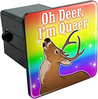 Graphics and More Oh Deer I'm Queer Rainbow Pride Gay Lesbian Funny Tow Trailer Hitch Cover Plug Insert 2