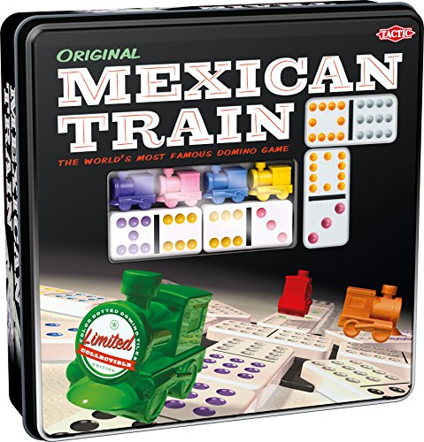 Tactic Games US Mexican Train – Game Forup to 8 Players Dominoes - Double-Twelve Domino Set - Colour-Dot Dominoes for Easy Play. World'S Most Popular Domino Game, from Tactic (54039)