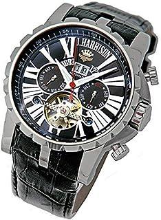 最強のパフォーマンス!機械式 時計 [ ジョンハリソン J.HARRISON ] 自動巻 スケルトン 牛革ベルト 腕時計 メンズ 紳士 誕生日プレゼント 3033SBBK