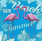 TEXTIL TARRAGO Toalla de playa Gigante 180x140 cm Flamencos rosa Doble algodon...