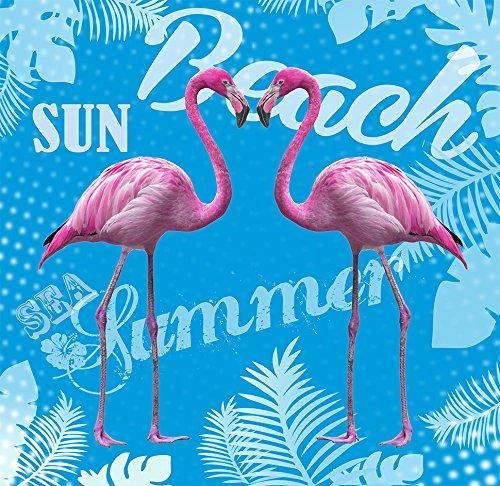 TEXTIL TARRAGO Toalla de playa Gigante 180x140 cm Flamencos rosa Doble algodon 100%