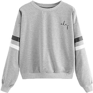 Women's Casual Striped Drop Shoulder Long Sleeve Crop Pullovers Sweatshirt