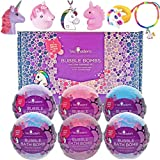 Unicorn Bubble Bath Bombs for Girls with Surprise Toys Inside by Two Sisters Spa. 6 Large 99% Natural Fizzies in Gift Box. Moisturizes Kids Dry Sensitive Skin. Releases Color, Scent, and Bubbles.