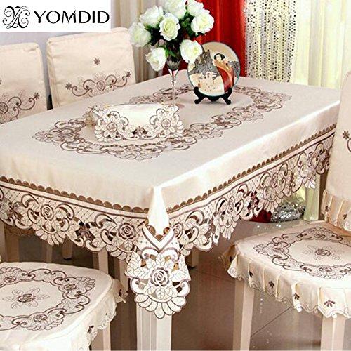 BLUELSS Japan Style Nappe en Coton et Lin Fleurs Dîner Table Cloth Macrame Decoration Table Dentelle Élégante Couverture Classique pour Cadeau,85x85cm
