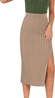 Zandiceno Women's Sexy Pleated Side Button Down Split Skirt Bodycon Midi Knit Skirt Ladies Casual Wear