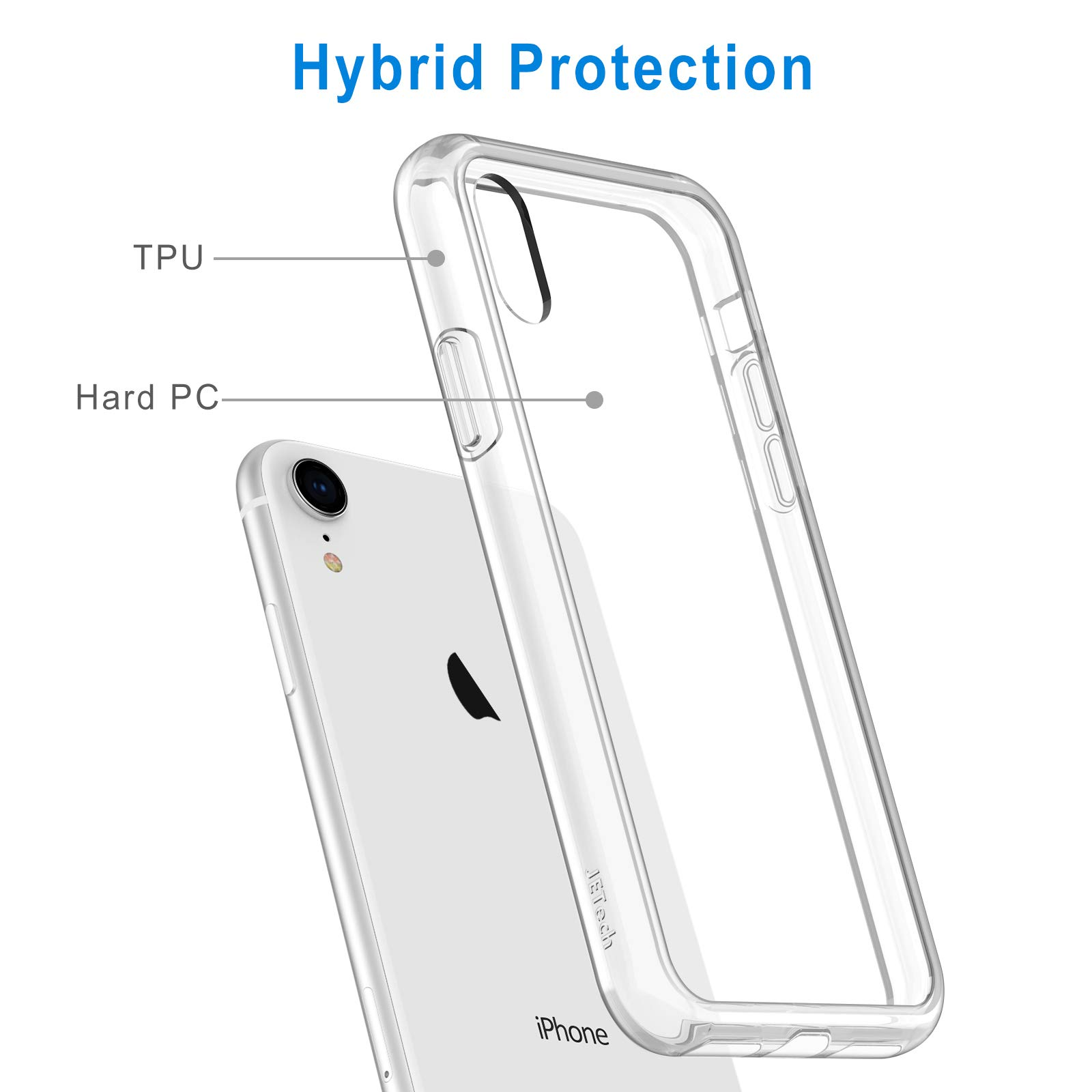 JETech Case for iPhone XR 6.1-Inch, Shockproof Transparent Bumper Cover, HD Clear