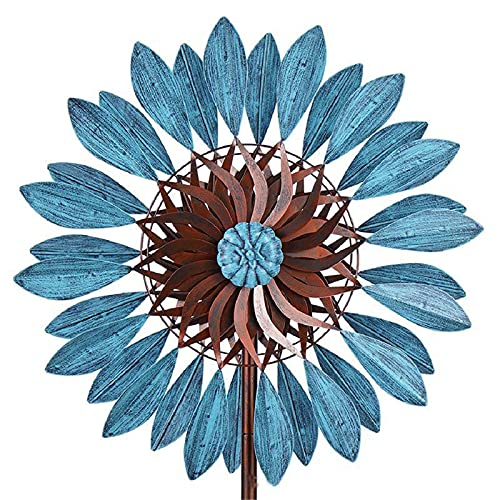 ZCZC Blue Sunflower Metal Wind Spinner,Lotus Kinetic Windmill,Dual Direction Wind Sculpture,Vertical Wind Wheel,Decorative Ornamental Wind Catcher for Garden,Yard,Lawn,Patio