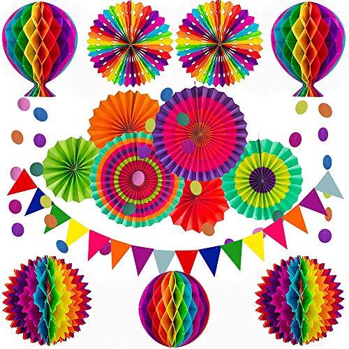 Cojoy - Set di decorazioni per feste, colori arcobaleno, a nido d'ape, con pompon e fiori a pois, per compleanno, matrimonio, festa