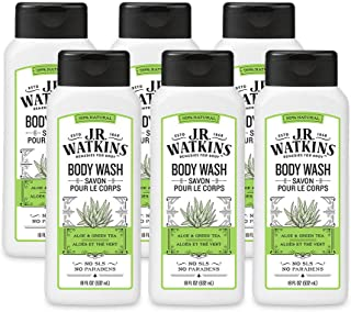 JR Watkins Natural Daily Moisturizing Body Wash, Aloe and Green Tea, 6 Pack, Hydrating Shower Gel for Men and Women, Free ...