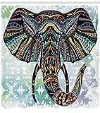 ABAKUHAUS Duschvorhang, Mehrfarbig Tribales Elefanten Design Muster Bunt Symmetrisch Abstrakt Afrika Safari Druck, Blickdicht aus Stoff inkl. 12 Ringe für Das Badezimmer Waschbar, 175 X 200 cm