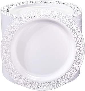 I00000 102Pcs Plastic Dessert Plates with Lace Design, 7.5inch White Disposable Salad Plates, Appetizer Plates forWedding, Parties