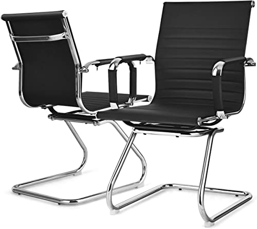 new arrival Giantex Conference Chair Set of 2 Heavy Duty PU Leather W/Protective Arm Sleeves and Sled Base Office Chair 2021 for Waiting Room,Conference Room,Guest Reception Guest new arrival Chairs (2 Pack, Black) online