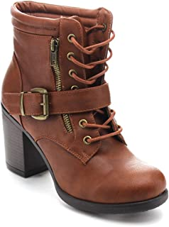 Betani Tanya-1 Women's Lace Up Buckle Strap Chunky Heel Combat Ankle Booties