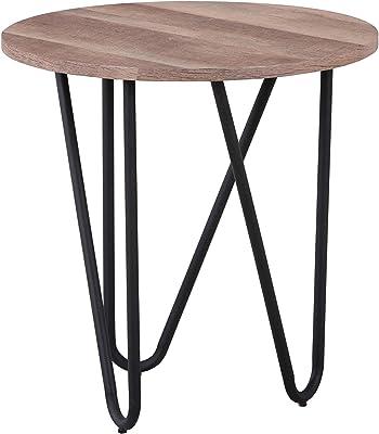 GOLDFAN Bout de Canap Ronde Petite Table d 'appoint Bois Design Table Basse de Salon 50x50x50cm