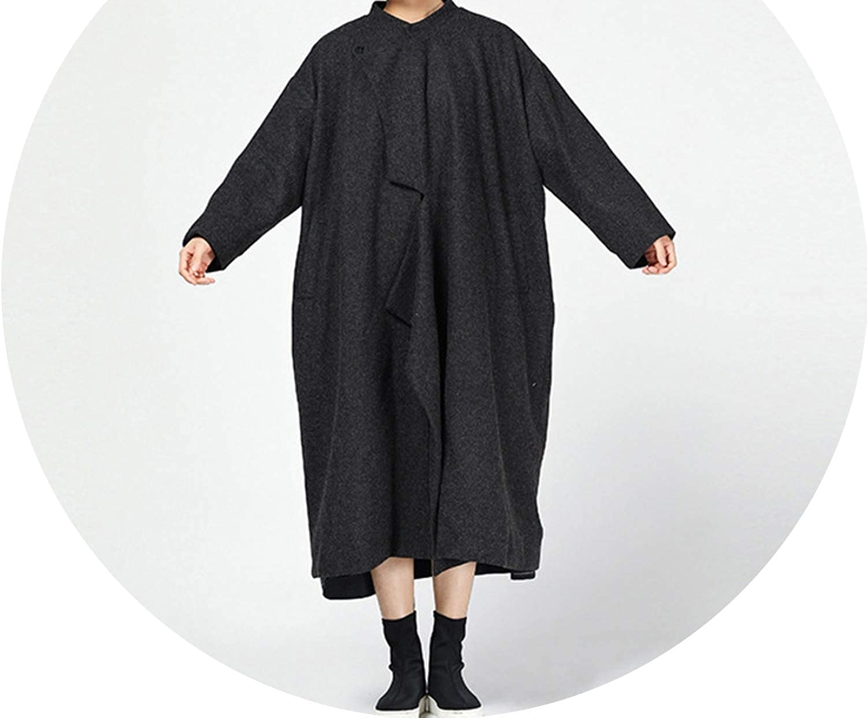 Jifnhtrs Fashion Women Autumn Irregular Patchwork Long Sleeve Single Button Woolen Loose Coat Outwear