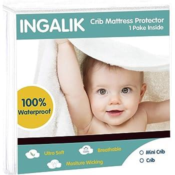 28 X 52-100/% Waterproof,Comfortable,Breathable,Hypoallergenic Crib Mattress Pad Cover Machine and Dryer Friendly INGALIK Crib Mattress Protector