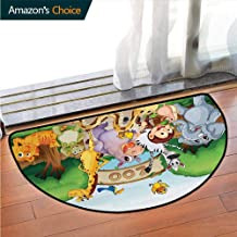 Zoo The Door Mats Bathroom Foyer Mat, Zoo and The Animals in Beautiful Nature Welcoming Playful Outdoors Forest Landscape Printed Door Mat Anti-Slip Shower Water Absorbent Soft Microfibers Multicolor