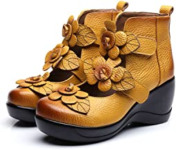 Women's Leather Classic Round Toe Platform Wedges Mary Jane Pump Shoes