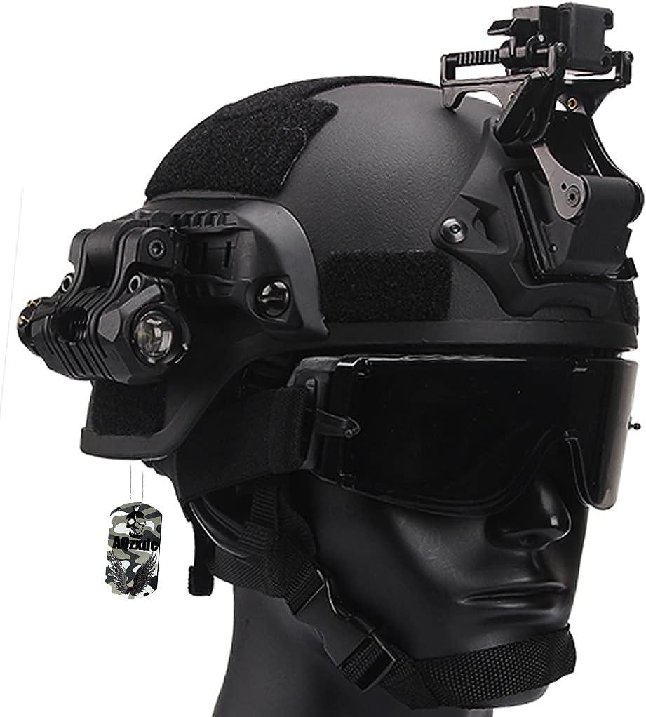 AQzxdc Mich 2000 Cascos Tácticos Equipo, con Máscara Facial de Protección Completa y Linterna, Juego Montaje NVG, para Airsoft Paintball, Halloween, Cosplay