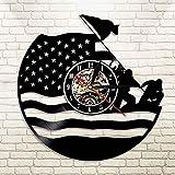 UIOLK Reloj de Pared con Registro de Vinilo Retro del ejército de EE. UU, Bandera Americana patriótica, Regalo Militar Iluminado con LED
