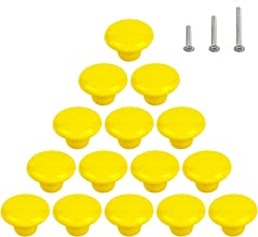 15PCS Glossy Dresser Pulls,Ceramic Door Handles,Round Cabinet Knobs, Cupboard Wardrobe Drawer,Yellow