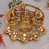 Collectible India Laxmi Ganesh Saraswati Idol Diya Oil Lamp Deepak - Metal Lakshmi Ganesha Showpiece Statue - Traditional...