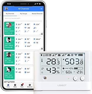 UbiBot WS1 Pro wifi Temperatuur en vochtigheidssensor, draadloze temperatuurmonitor, vriezerthermometer, externe datalogge...