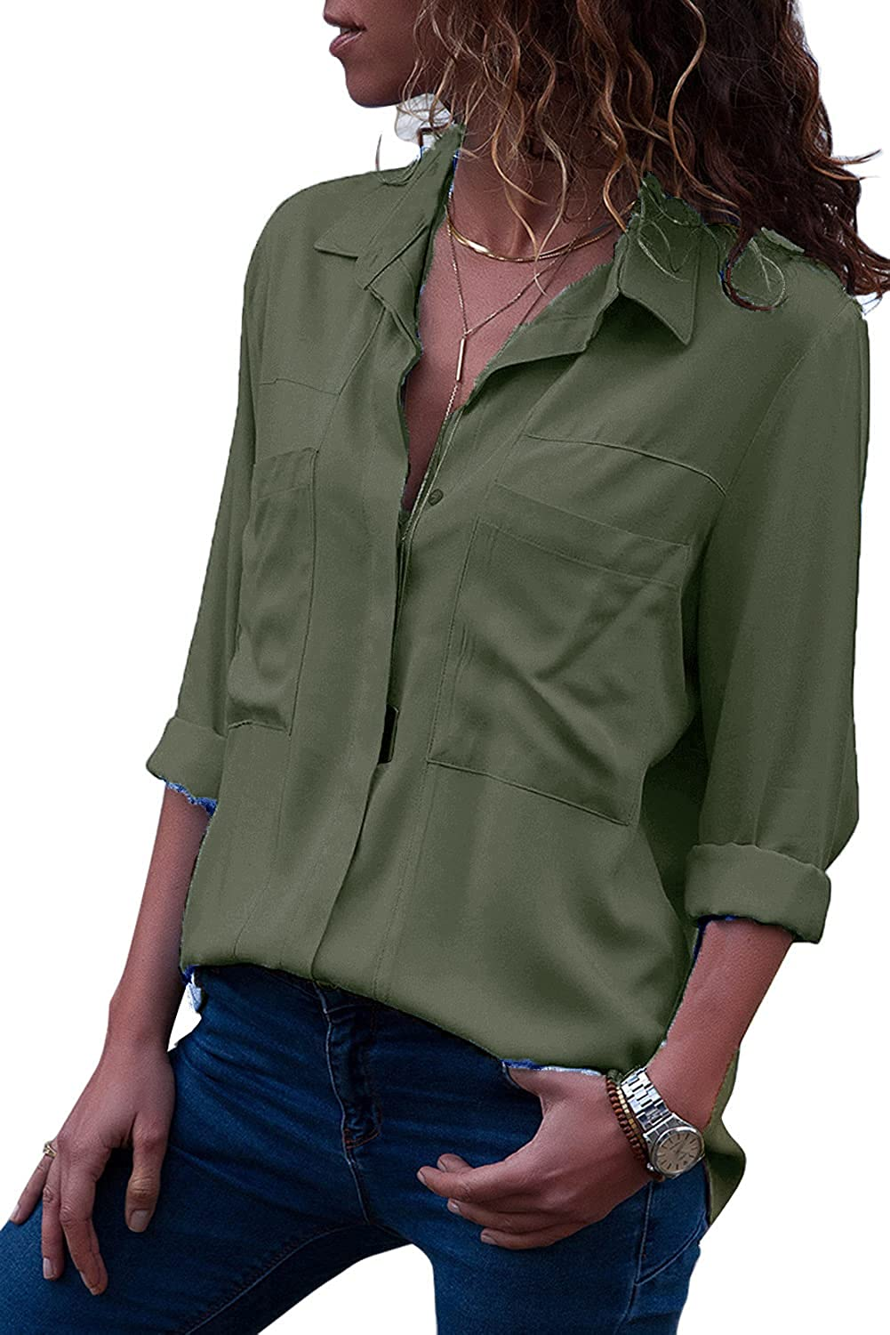 Bellastory Women's Button Down Shirts Roll-up Sleeve Blouse V Neck Casual Tunics Solid Color Tops with Pockets