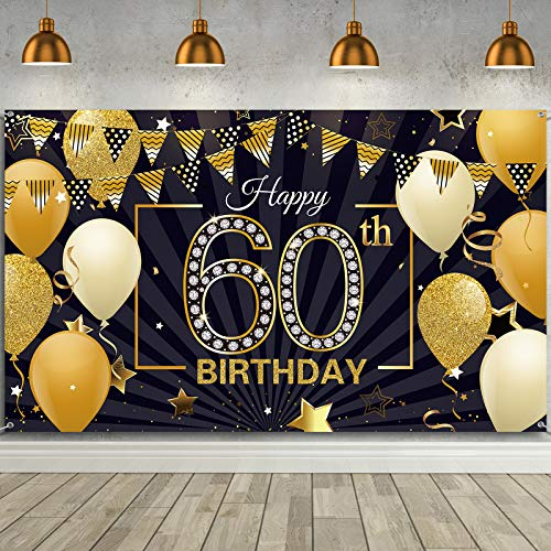 Happy 60th Birthday Backdrop Banner Extra Large Black and Gold 60th Birthday Photo Booth Backdrop Photography Background Happy 60th Birthday Party Decorations for Women and Men, 72.8 x 43.3 Inch