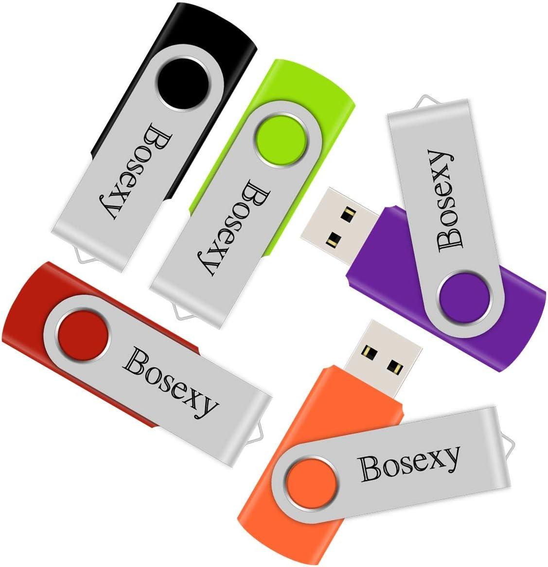 5 X 8GB USB Flash Drive, Bosexy Thumb Drive Memory Stick Swivel Keychain Design with Led Indicator, Black/Green/Red/Orange/Purple (5PCS, 8GB Each, Mix Color)