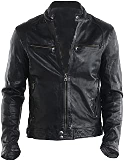 Men's Genuine Lambskin Leather Biker Jacket Adjustable Hem