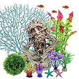 Planta artificial de acuario, juego de plantas de plástico para acuario con tocón de árbol que se esconde de estrellas de mar, juego de plantas de simulación de coral, decoración de peceras